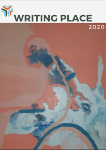 Image of a magazine cover with the words Writing Place 2020 and the Meeting Place logo. The cover artwork is a painting with abstract brushstrokes in peaches, blues and whites of a person in a wheelchair.
